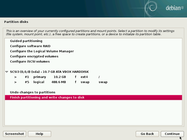 finish debian linux partitioning step