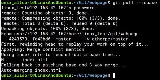 git pull successful merge