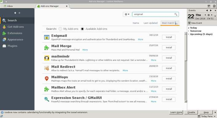 install enigmail in thunderbird