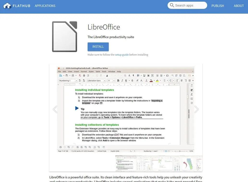 install libreoffice flatpak