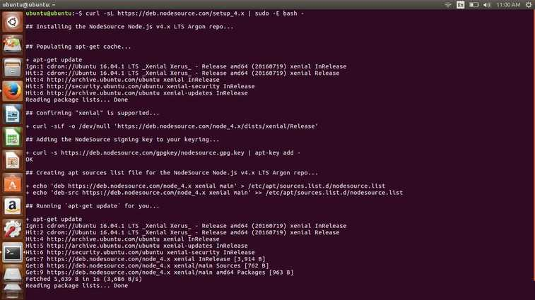 install nodejs in ubuntu 16.04