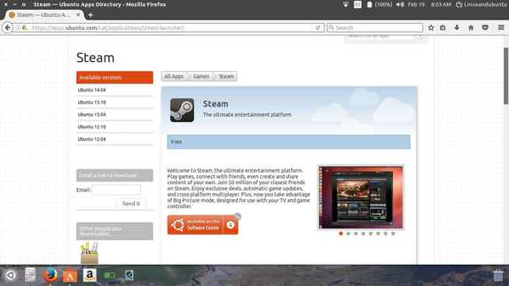 install steam from linux software center