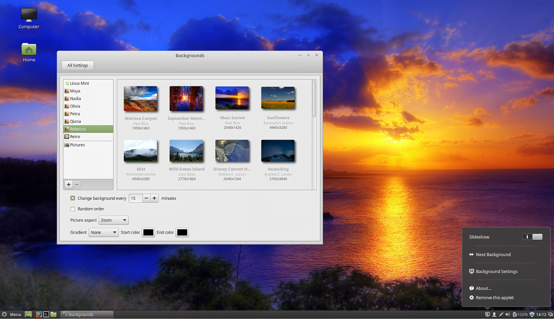 linux mint 17.1 background settings