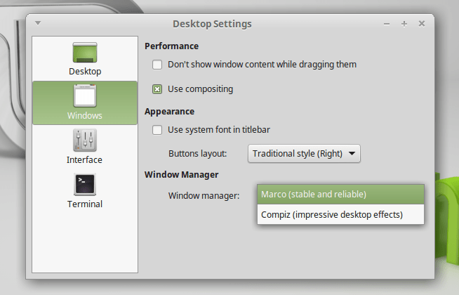 linux mint 17.1 dekstop settings