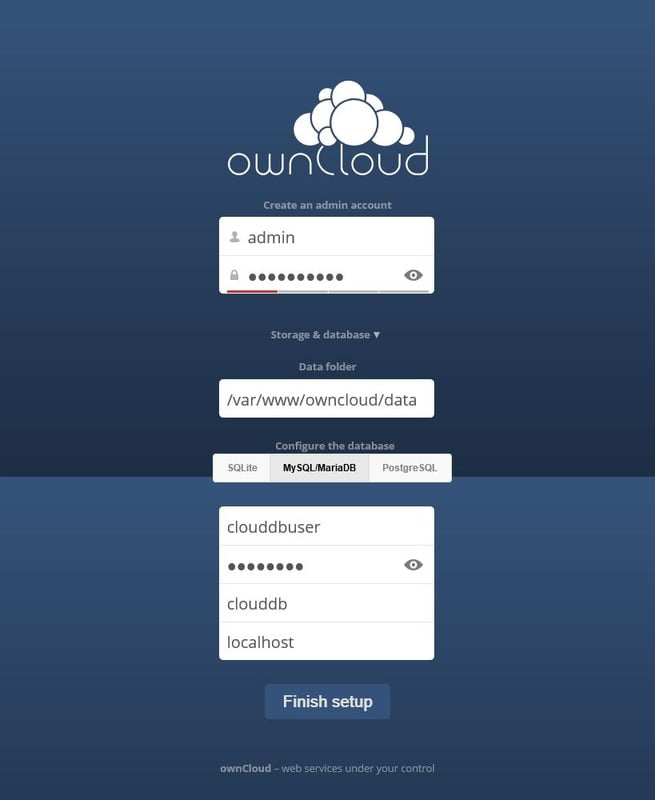 owncloud login interface & configuration