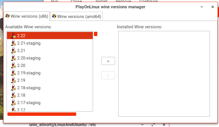 playonlinux select wine version