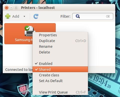 printer properties in linux