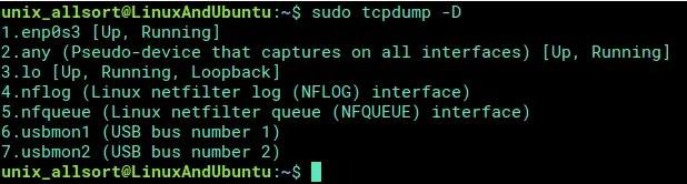 tcpdump select interface