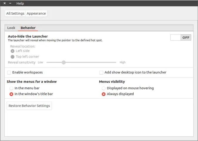 ubuntu 16.10 show menu always