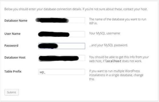 wordpress mysql database info