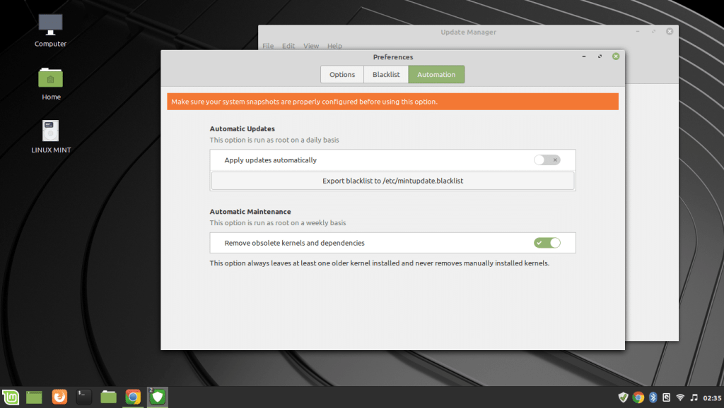 linux mint update manager automation