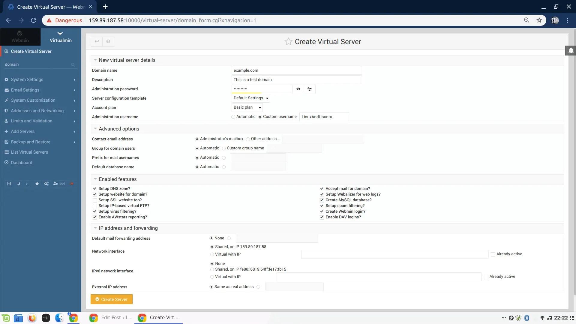 Add new virtual server Virtualmin