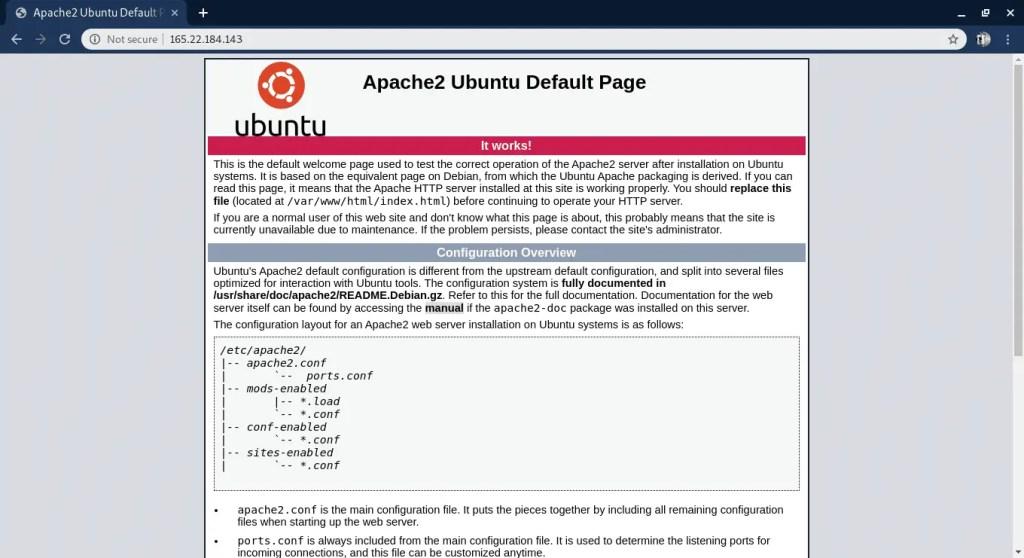 Apache server running on Ubuntu server