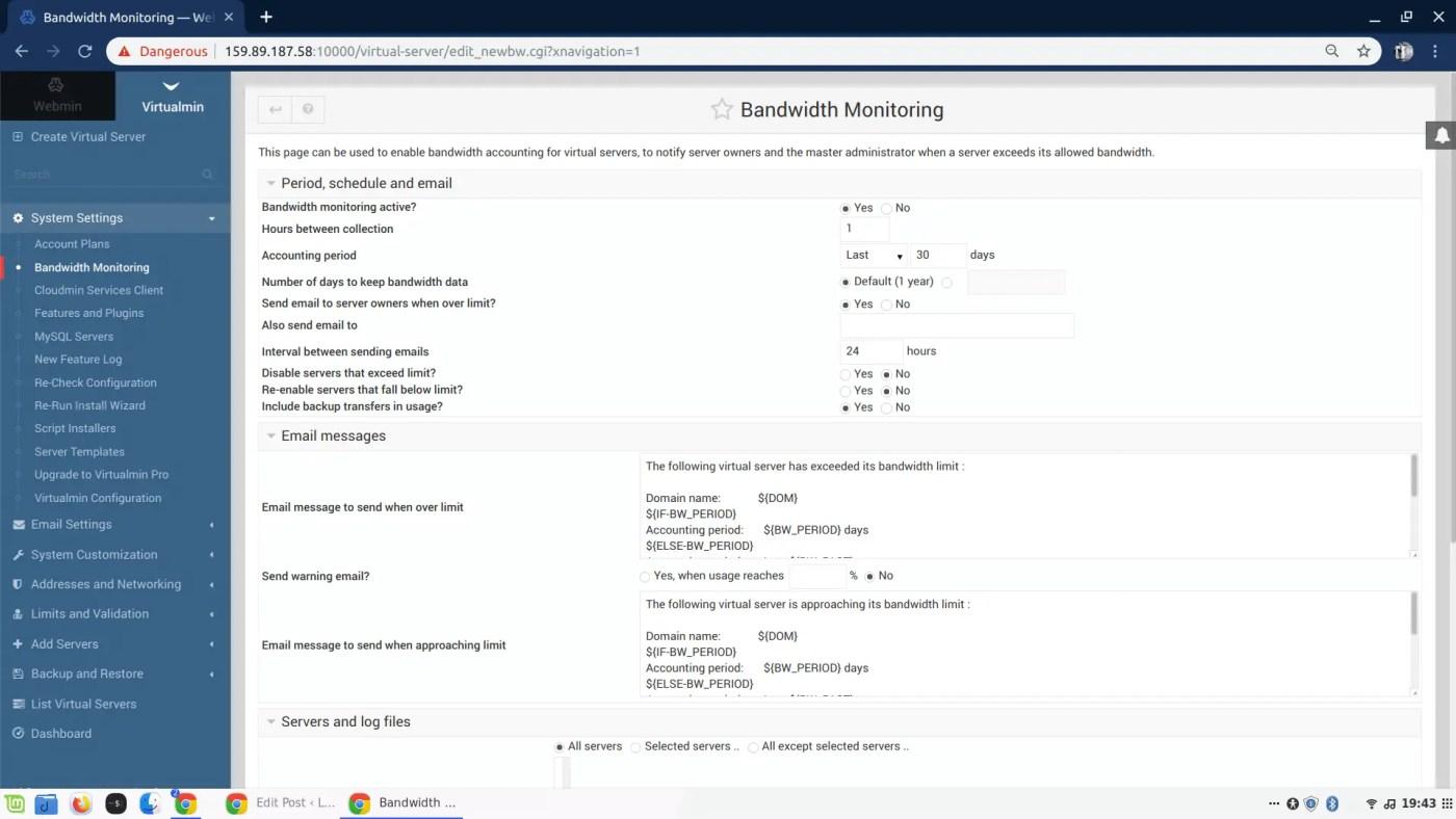 Virtualmin bandwidth monitoring