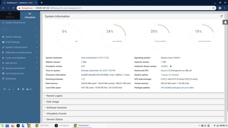 virtualmin dashboard