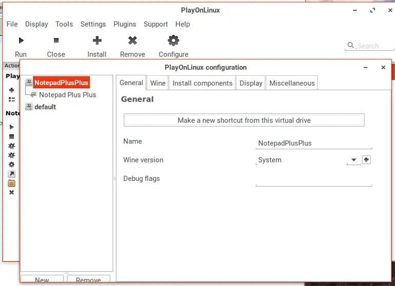 playonlinux application settings