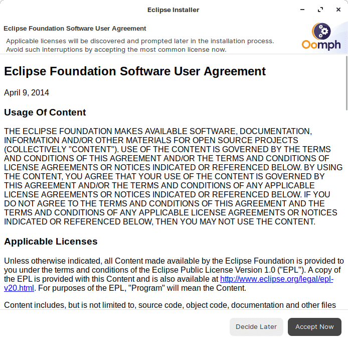 Eclipse accept terms conditions