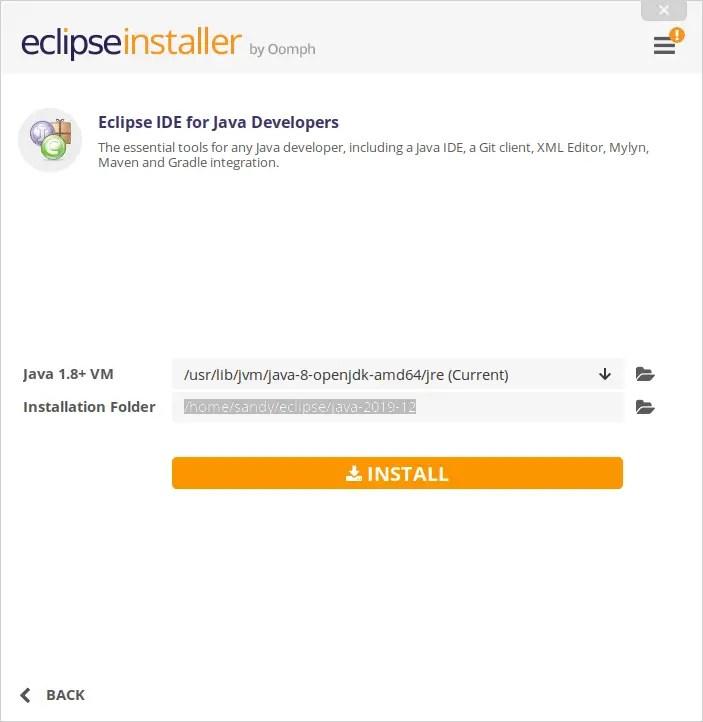 Eclipse installation path