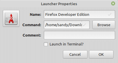 Create firefox developer edition launcher