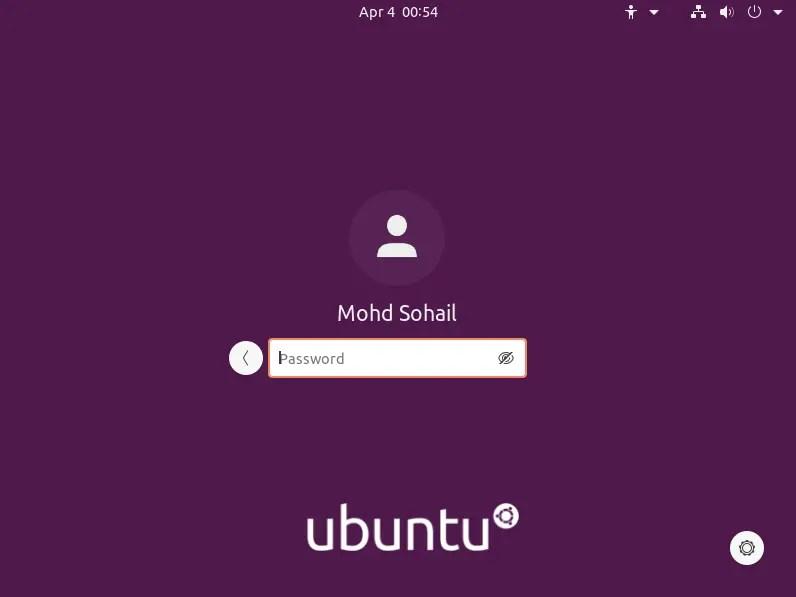 GNOME new login screen