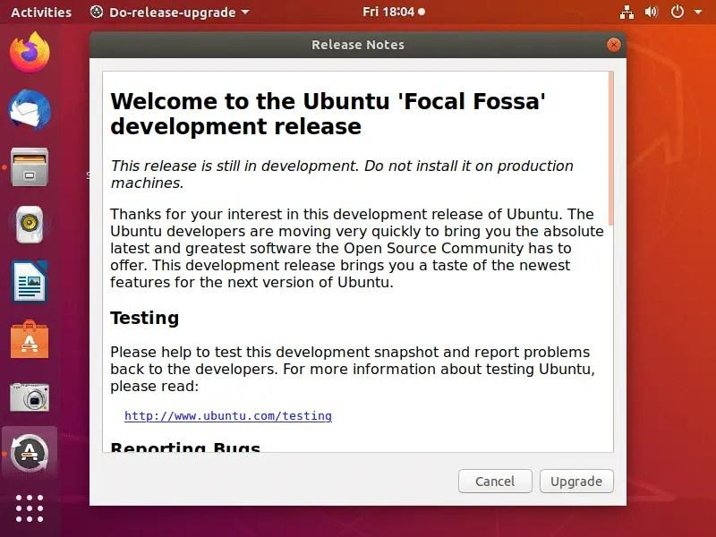 Ubuntu 20.04 Release notes