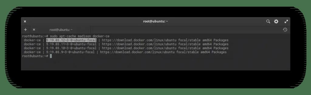 List docker versions