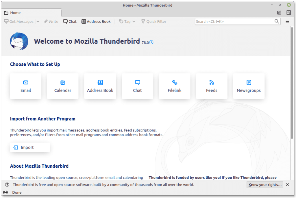 Thunderbird dashboard