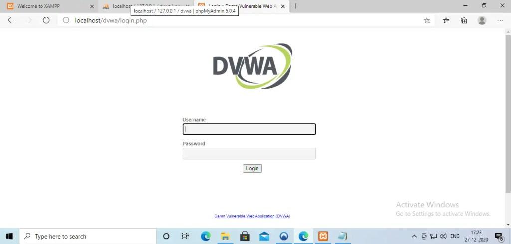 DVWA login panel