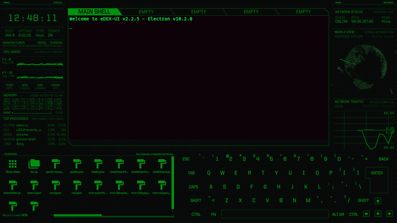 eDEX UI matrix theme