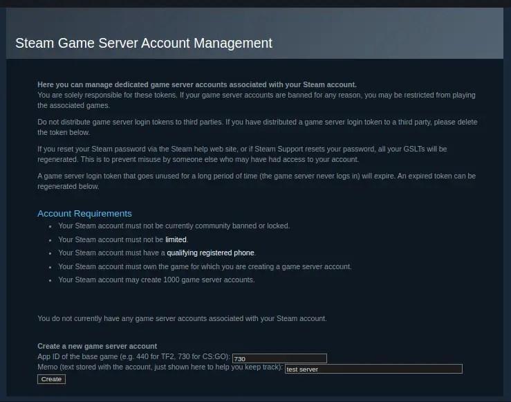 Create a game server account