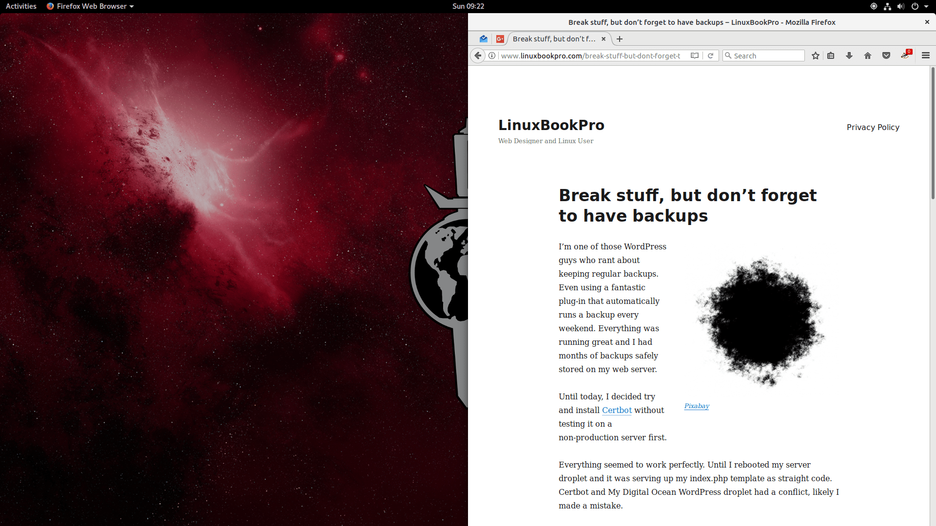 Desktop with a snapped window of Firefox viewing this website