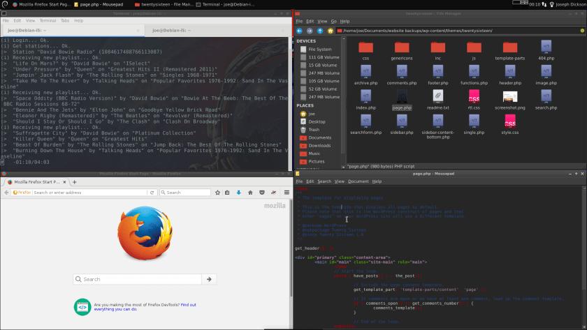 Debian Desktop: Terminal, Firefox ESR, Thunar, Mousepad text editor