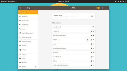 Pop!_OS Settings - Wifi