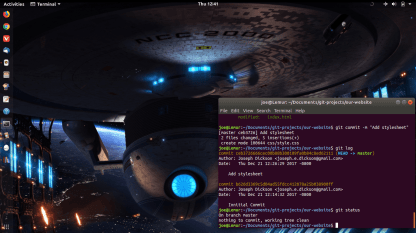 USS Excelsior Wallpaper with GNOME Terminal running git