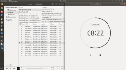 Rhythmbox on left and GNOME's Pomodoro timer extension on the right.