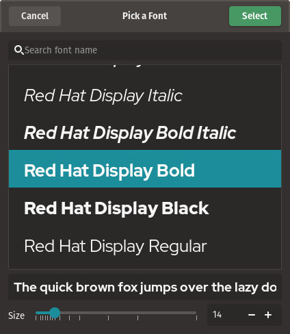 select system fonts