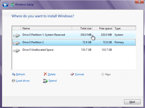 Windows 8 Create Partition