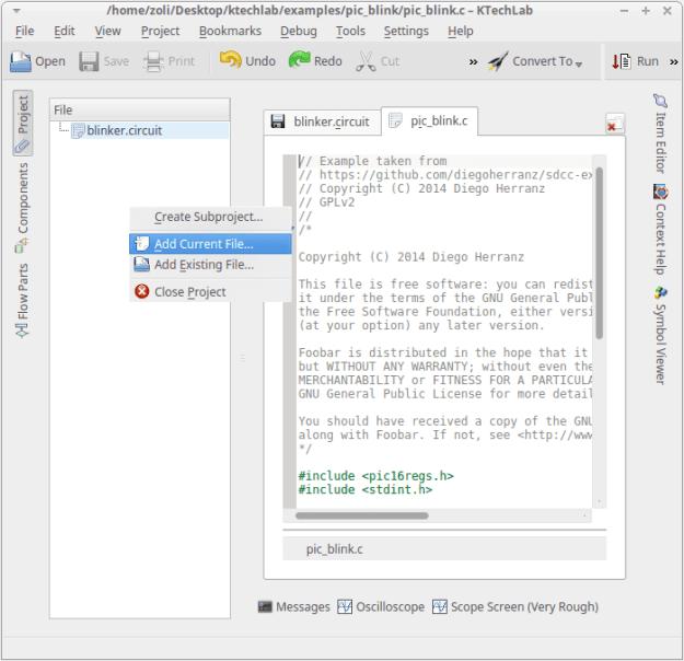 LinuxForum.hu KTechLab:  PIC microcontroller szimuláció KDE alatt QT4 PIC programozás ktechlab KDE