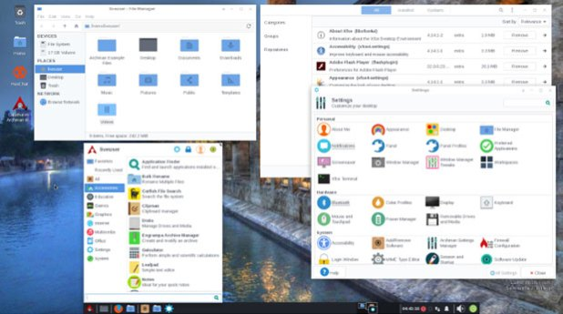 Archman Linux Xfce menu and control panels