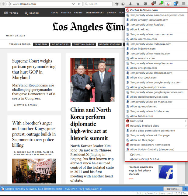 NoScript Output from LA Times Website