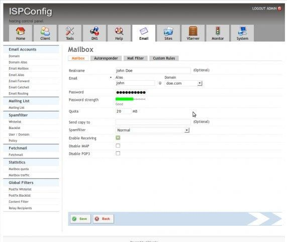 ISPConfig - hosting control panel - LinuxLinks