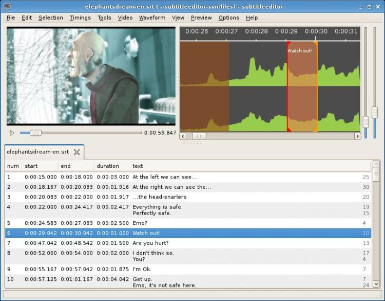 Subtitle Editor - GTK+3 tool to edit subtitles - LinuxLinks