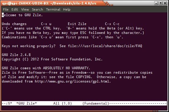 Zile - small Emacs alternative - LinuxLinks