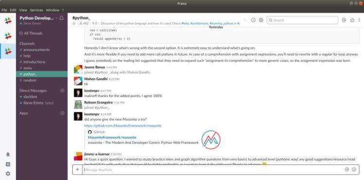 Franz - messaging app for WhatsApp, Slack, Telegram