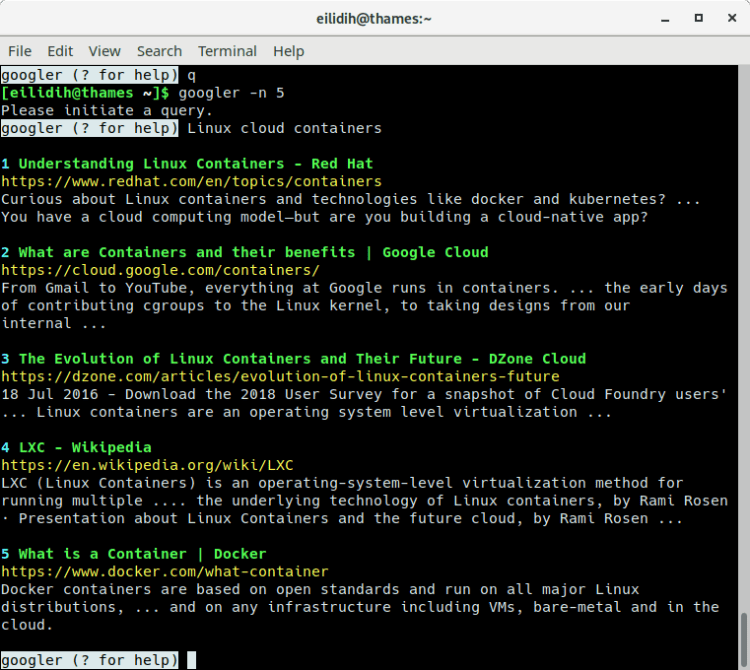 googler: Google Web and Google News from the command-line