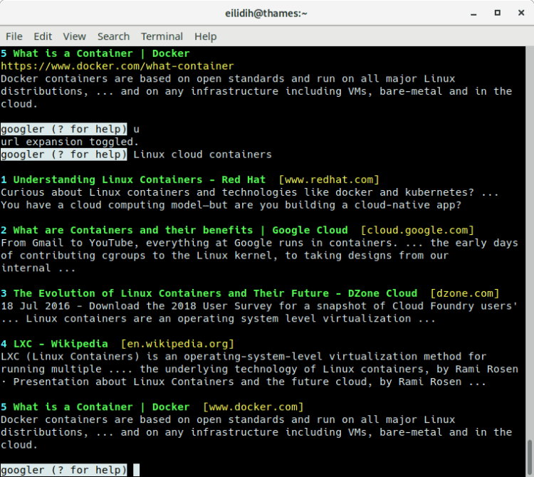 googler: Google Web and Google News from the command-line - LinuxLinks