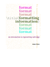 Formatting Information – An Introduction to typesetting with LaTeX