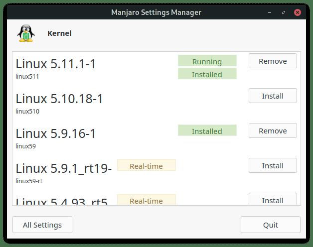 Lenovo M93 - Manjaro Settings Manager