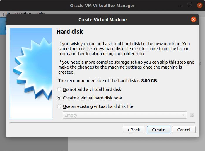 VirtualBox - create virtual machine hard disk