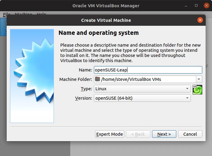 VirtualBox - create virtual machine